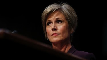 Former acting attorney general Sally Yates testifies before the Senate Judiciary subcommittee on Crime and Terrorism hearing.