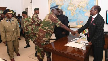 Robert Mugabe met military generals in Harare on Sunday to negotiate his exit.