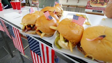 The mini Donald Trump burgers needed mini flags to keep them together.