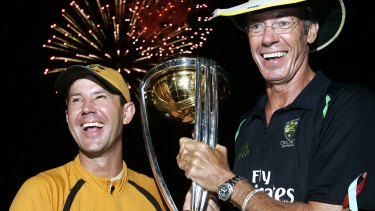 Fireworks: Ricky Ponting and John Buchanan with the Cricket World Cup trophy in Barbados, 2007.