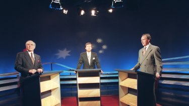 Paul Keating and John Howard during the 1996 election debate.