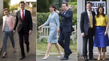 Casting their votes: Labour leader Ed Miliband and wife Justine Thornton, Conservative leader David Cameron and wife Samantha and Liberal Democrat leader Nick Clegg and his wife Miriam Gonzalez Durantez.