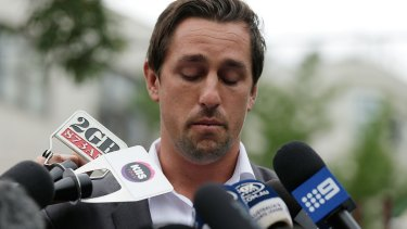 Mea culpa: Mitchell Pearce fronts the media in January last year.