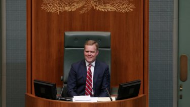 Speaker Tony Smith takes the Speaker's chair in the House of Representatives on Monday August 10.