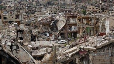 Bombed-out Zabadani, outside Damascus.