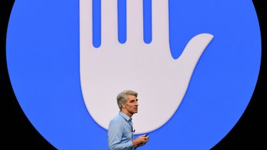 Craig Federighi, senior vice president of software engineering at Apple Inc., speaks during the Apple Worldwide Developers Conference (WWDC) in San Jose, California, U.S., on Monday, June 4, 2018. Apple Inc. highlighted improvements to its augmented-reality software, a key foundation for iPhones, iPads and future devices. Photographer: David Paul Morris/Bloomberg