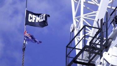 CFMEU flag on a Canberra building site.