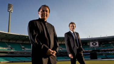 Indian batting great Sunil Gavaskar (left), pictured with Adam Gilchrist in 2010, has joined the commentary box.