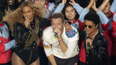 A high-powered delegation from NSW saw Beyonce, Coldplay singer Chris Martin and Bruno Mars perform at the Super Bowl before jetting off to Las Vegas and London.