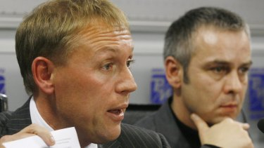 Andrei Lugovoi, left, a former KGB officer, and his associate Dmitry Kovtun attend a news conference in Moscow.