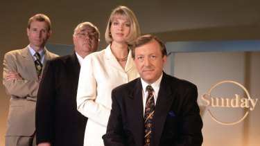 Channel Nine's <i>Sunday</i> Program: The presenters, left to right: Ross Coulthart, Laurie Oakes, Helen Dalley and Jim Waley.