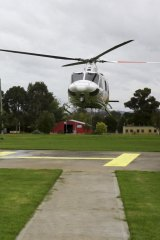Saftey NETS: A NETS chopper lands at central-west NSW's Mudgee Hospital.