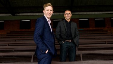 Candidate for the federal seat of Higgins, Jason Ball, with Greens leader Richard Di Natale.