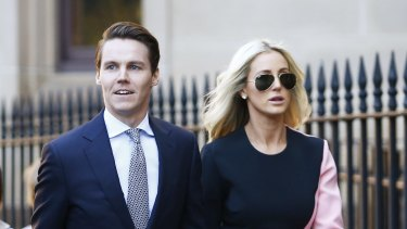 Oliver Curtis and his wife Roxy Jacenko arriving at his trial in the Supreme Court in Sydney.