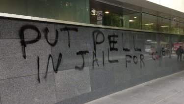 Anti-George Pell graffiti outside the County Court.