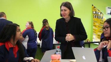 Charting change: Premier Gladys Berejiklian announced 2017 NAPLAN results at Moorefield Girls High School.
