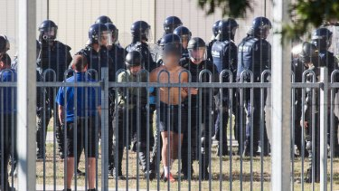 Riot police at the Malmsbury youth detention centre last week.