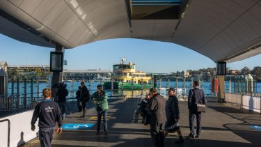 The two wharves at Barangaroo are capable of handling eight ferries at once.