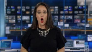 Natasha Exelby at the moment she realised she was on air on Saturday night.