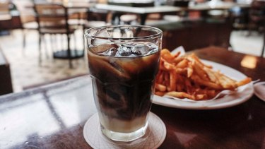 Iced coffee at Olivier Cafe in Jakarta, Indonesia.