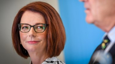 Former prime minister Julia Gillard, the new chair of beyondblue, with founder and outgoing chairman Jeff Kennett.