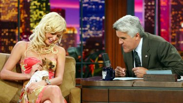 Jay Leno interviewing Paris Hilton and her (now deceased) dog Tinkerbell.