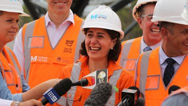 Premier Gladys Berejiklian at the Metro construction.