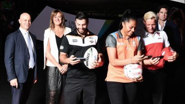 (From left) NRL CEO Todd Greenberg, Acting Chief Executive of Netball Australia, Marne Fechner, NRL player James Tedesco, netball player Kristina Manu'a, AFL player Isaac Heeney and AFL CEO Gillon McLachlan.