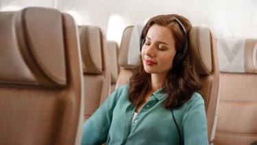 Etihad 's A380 economy class. You can keep the seat next to you empty, for a price.