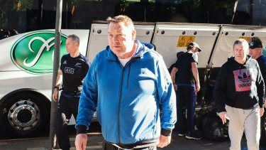 Bugged: All Blacks coach Steve Hansen and his team leave the Intercontinental Hotel in Double Bay after the listening device was found last year.