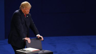 Gripping the chair: Donald Trump