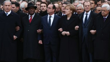 Israeli Prime Minister Benjamin Netanyahu (left) joined French President Francois Hollande and other world leaders for Sunday's unity march through Paris.