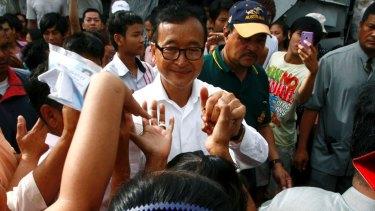 Cambodia's opposition leader Sam Rainsy, pictured in Phnom Penh in 2013.