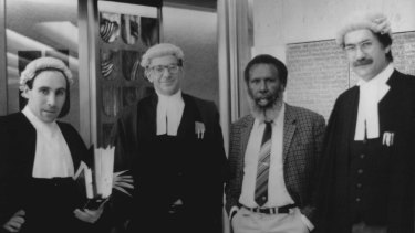 Solicitor Greg McIntyre, barrister Ron Castan, Eddie Mabo and barrister Bryan Keon-Cohen at the High Court of Australia 1991.