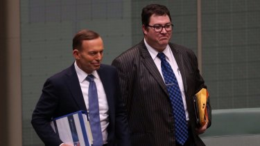 PM Tony Abbott with Coalition federal MP George Christensen.