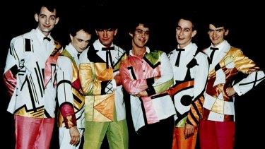 Split Enz in their True Colours suits.