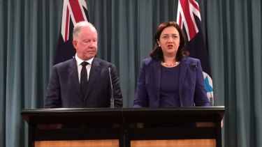 Commissioner Michael Byrne, with Premier Annastacia Palaszczuk, said a focus on bikies had allowed other crime to flourish.