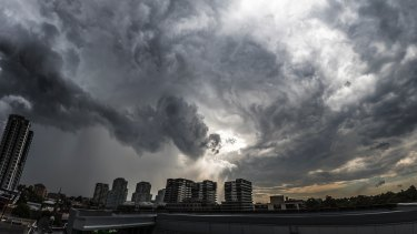 Storm clouds mass over Burwood on Monday.