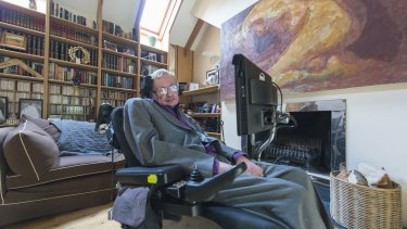 Professor Stephen Hawking at home in his library.