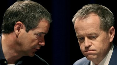 Labor Senator for Victoria Stephen Conroy and federal Labor leader Bill Shorten, pictured during the ALP national conference in Melbourne in July.