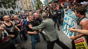 Reclaim Australia protesters clash with left-wing activists in Melbourne on April 4.