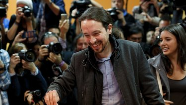 Podemos (We Can) leader Pablo Iglesias casts his vote at a polling station in Madrid on Sunday.