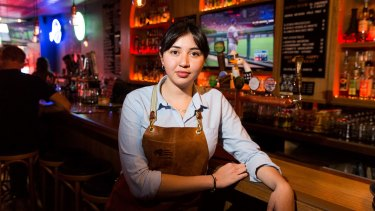 Bar worker Lizbeth Radilla has been hit by the  penalty rate reductions.