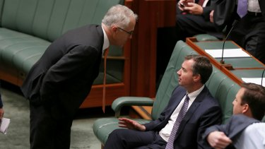 Prime Minister Malcolm Turnbull and Minister for Justice Michael Keenan during a division on Thursday.