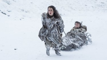 Breaking the ice:  Bran Stark (Isaac Hempstead Wright) and Meera Reed (Ellie Kendrick) make a brief appearance in Game of Thrones season seven, episode one.