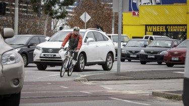 A cyclist negotiates the dreaded  Haymarket roundabout.