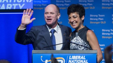 Campbell Newman, with his wife Lisa, waving goodbye to his political career following the LNP's 2015 state election loss.