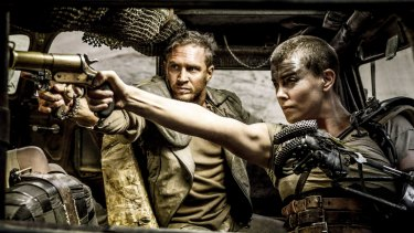 Tom Hardy and Charlize Theron in Mad Max: Fury Road, which garnered worldwide acclaim.