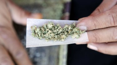 A marijuana joint is rolled in San Francisco.