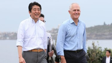 The fate of the TPP matters a lot to Australia and Japan: Pictured: Japanese PM Shnzo Abe and PM Malcolm Turnbull.